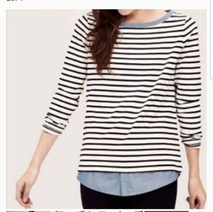 LOFT Layered Striped Long Sleeve Top